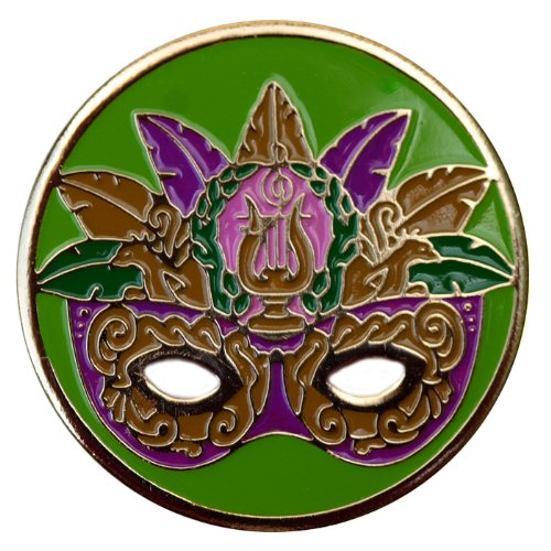 Mardi Gras Golf Ball Markers Multiple Styles available and Matching Mardi Gras Golf Hat Clips Available (Elaborate Green Mardi Gras Mask Golf) -
