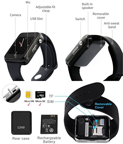 Bluetooth Smart Watch A1 – WJPILIS Touch Screen Smart Wrist Watch Smartwatch Phone with SIM Card Slot Camera Pedometer Sport Tracker for IOS iPhone Android Samsung LG Smartphones for Men Women Child
