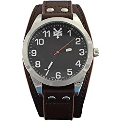 Zoo York - Men's Black and Silver-Tone Brown Strap Watch