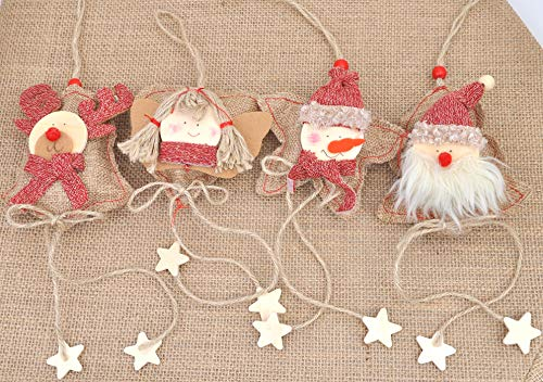 Love Wind Hanging Heart Christmas Home Decor 8pcs Rustic Burlap Moose/Snowman/Santa Claus/Bell by Love Wind (Image #2)
