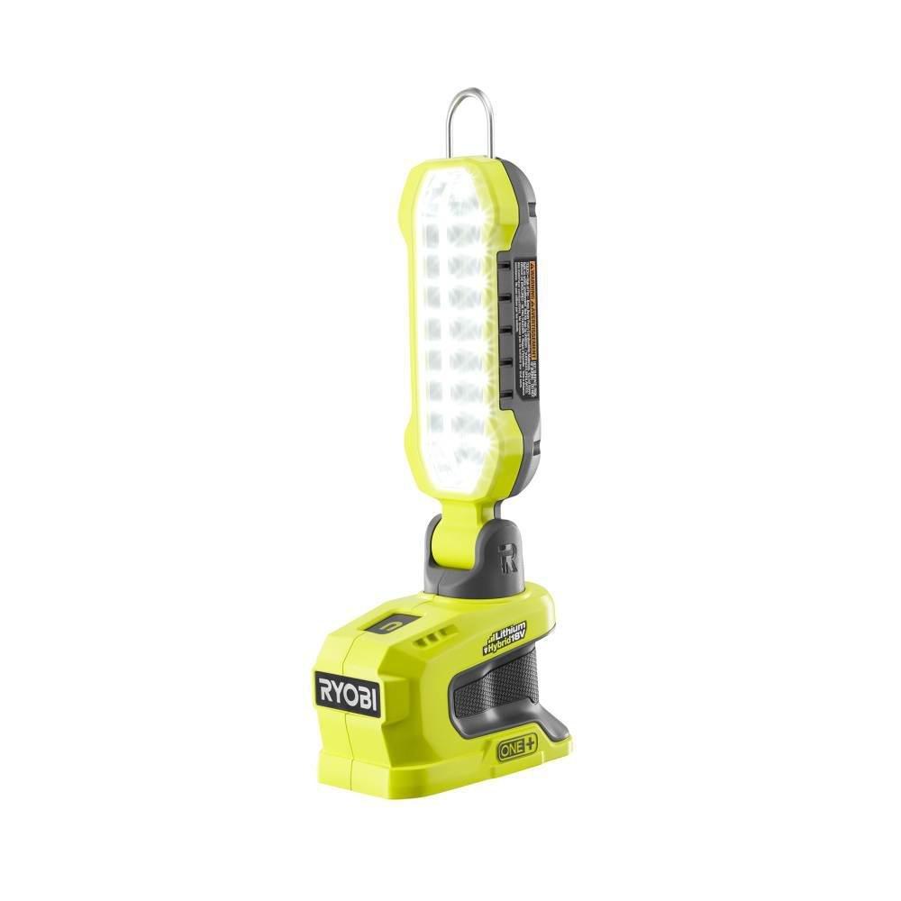 Ryobi 18-Volt ONE+ Durable Sturdy 900 Lumens Hybrid LED Project Light (Tool Only), Adjustable, Locking Hook Design For Multiple Hanging Options