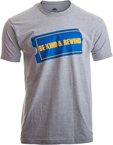 Be Kind & Rewind | Funny Retro 90s Party Nostalgia 1990s Pop Culture VHS T-Shirt-(Adult,L) Heather Grey