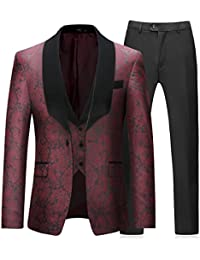 Mens 3 Piece Tuxedos Vintage Groomsmen Wedding Suit Complete Outfits(Jackets+Vest+Trousers) Red