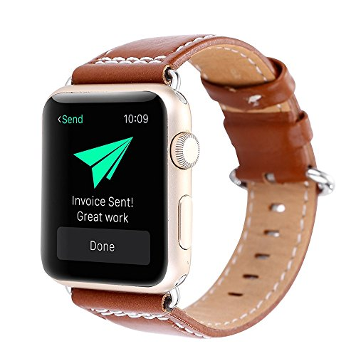 Sunbona for Apple Watch Bracelet Bands 42mm Genuine Leather Single Row Line Double Clasp Adjustable Sports Bracelet Replacement Wrist Strap Men Gifts (Brown)