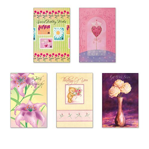 10 All Occasion Cards with Envelopes - Boxed Enclosure Cards 5 Different Designs. Fantus Paper 5040-AO22