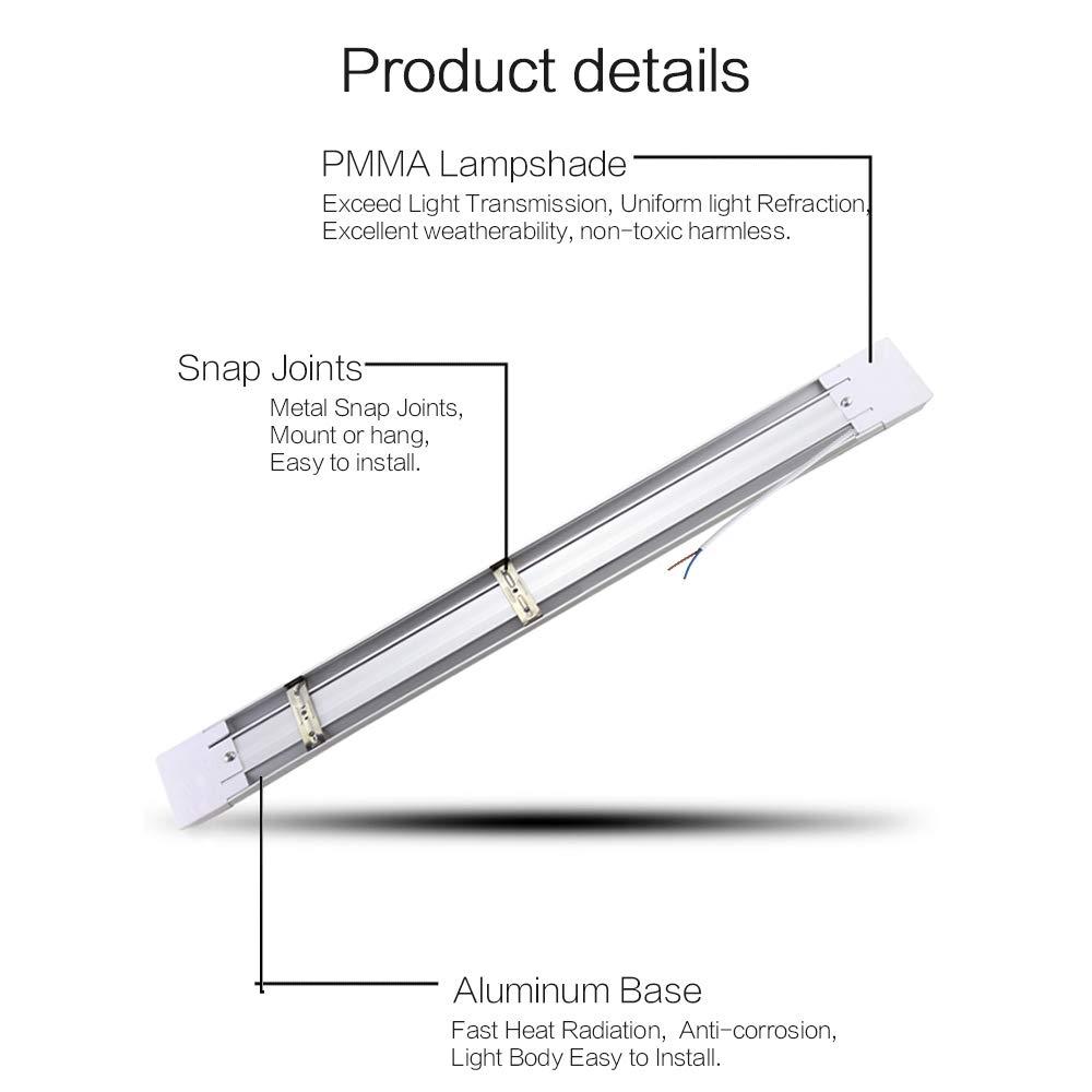 Tubos LED,LED Tubo 120cm Luminaria LED de Superficie T10 a prueba de polvo integrado tubo luces accesorio con soportes cubierta lechosa 40W 3000LM ...