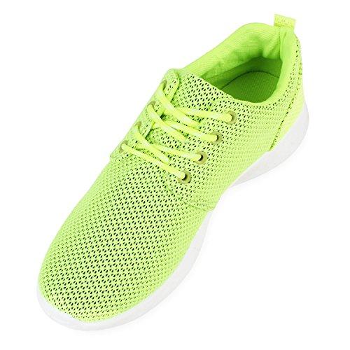 Stiefelparadies Damen Herren Sneaker Sportschuhe Schwarz Turnschuhe Runners mit Blumen Print in Mehreren Farben Flandell Neongelb Brooklyn