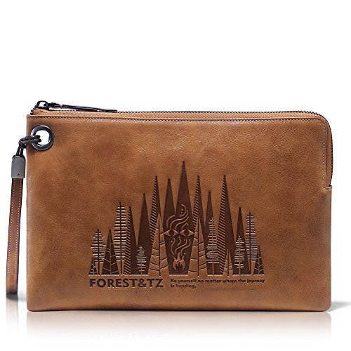 [2017 All New Design] Teemzone Mens Clutch Bag Purse Slim Genuine Leather Handbag, Long Wallet Credit Card Holder (Slim Handbag) by teemzone