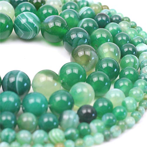 Oameusa Natural Round Smooth 8mm Green Striped Agate Green Agate Loose Beads Agate Beads for Jewelry Making 15