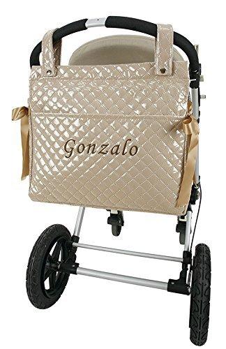 Danielstore- Bolso Talega Lactancia Plastificada SIN PERSONALIZAR para carro- capazo bebe. Color camel