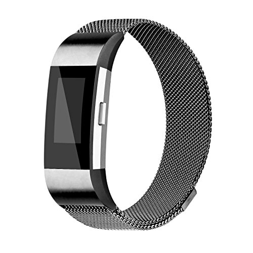 iGK Milanese Replacement Bands Compatible for Fitbit Charge 2, Stainless Steel Metal Bracelet with Unique Magnet Clasp Black Large