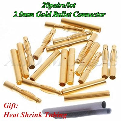 XSD MOEDL 20pairs/lot 2.0mm 2mm RC Gold Bullet Connector Battery ESC Banana Plug with Heat Shrink Tubing: Toys & Games
