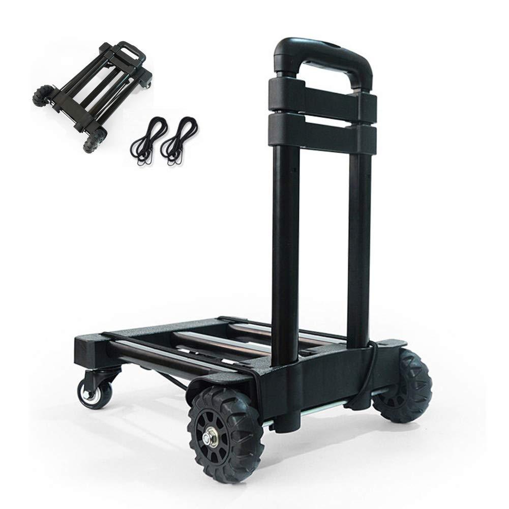 Camion a mano pieghevole, 135 libbre pesanti 4 ruote solide costruzione Utility Cart compatto e leggero per i bagagli, personale, viaggi, auto, in movimento e l'uso ufficio-portatile piega fino Dolly