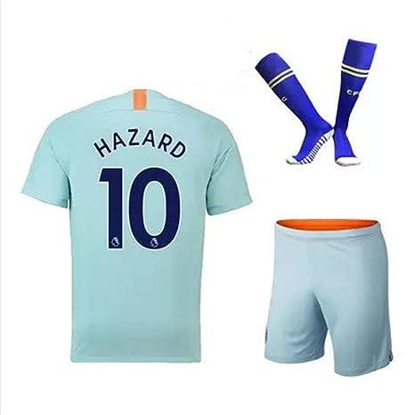 1c72795fe86 ZZXYSY Hazard  10 Chelsea Kids Youths Away Soccer Jersey Shorts Socks Colour