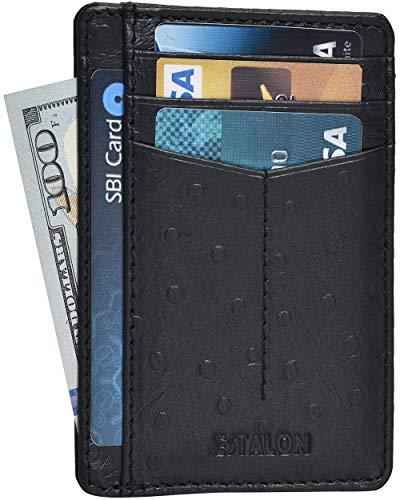 Ostrich Slim Wallet - Front Pocket Slim Wallets for Men with RFID - Genuine Leather Handmade Minimalist Credit Card Holder Gift Box (Black Ostrich Print Curve)
