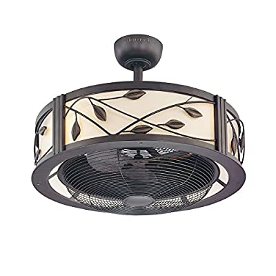 Fanimation Studio Collection Eastview 23-in Dark Bronze Downrod Mount Indoor Ceiling Fan with Light Kit and Remote Control (3-Blade)
