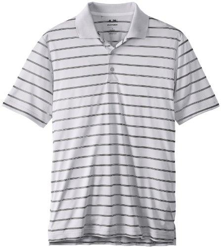 adidas Golf Men's Puremotion(tm) 2-Color Stripe Jersey Polo '15 White/Black Polo Shirt LG