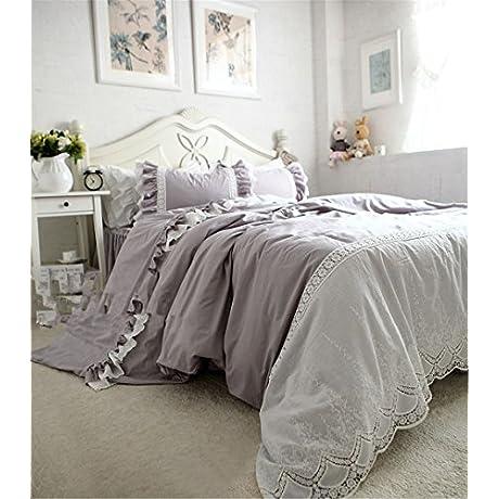 Lotus Karen Generous Hollow Embroidery Lace Ruffles Korean Bedding 100 Cotton Gray 4PC Bed Sheet Set 1Duvet Cover 1Bedskirt 2Pillowcases King Queen Full Twin Size