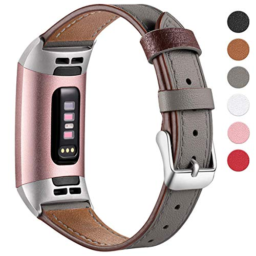 Maledan Leather Bands Compatible with Fitbit Charge 3 and Charge 3 SE Fitness Activity Tracker for Women Men, Premium Genuine Leather Watch Strap Replacement Wristband Accessories, Small, Grey
