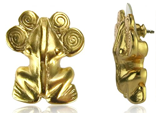Across The Puddle, Historical Jewelry Collection, 24k Gold Plated Pre-Columbian Frog with Spirals Diadem Drop Earrings 24k Gold Plated Frog