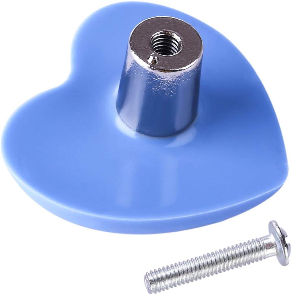 Haunen 6er Set M/öbelkn/öpfe Kinderzimmer M/öbelgriff Kinder Set Schubladenknopf Schrank Kommoden Ziehgriffe Herzform Blau 4/×3,8/×2,4cm