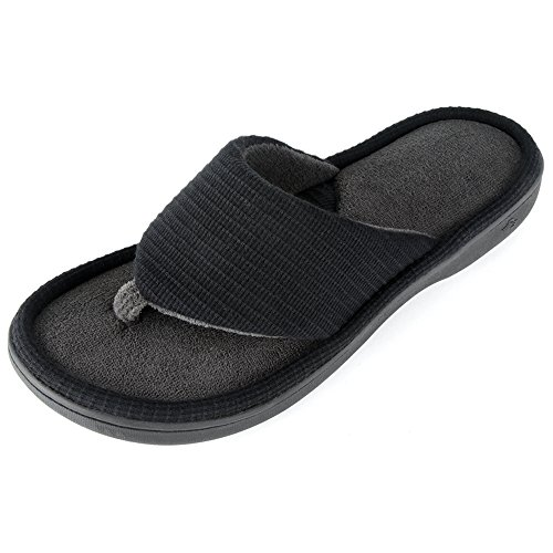 Wishcotton Men's Classic Memory Foam Spa Thong House Shoes Fluffy Flip Flop Slippers (L, Black)