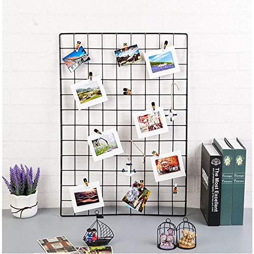 ShouYu DIY Rejilla Foto Pared,Pared Parrilla,Ins cuadricula Panel, multifuncion Estanteria Grid Wall,Decoracion Pared,Tablero Memo (65 * 45cm,Negro)