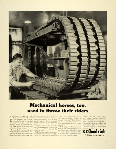 1941 Ad BF Goodrich Rubber Crawler Tank Traction Tires Industrial Machinery Ohio - Original Print Ad (Industrial Crawler)
