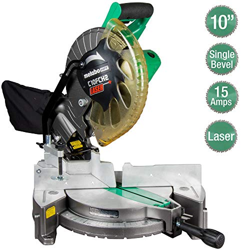Metabo HPT 10″ Compound Miter Saw | Laser Marker | 15-Amp Motor | Single Bevel (C10FCH2S)