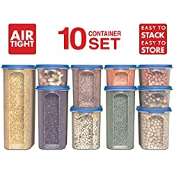 Food Storage Containers -STACKO- 20 PC. - Airtight Dry Food Container with Lids, Durable Plastic Pantry Containers - Modular, Stackable Clear Canister Set