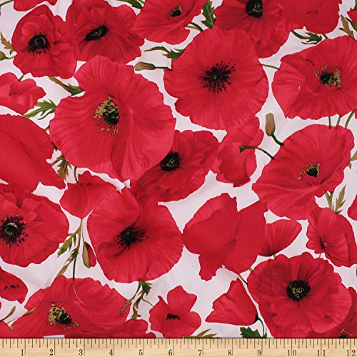(Telio Bloom Stretch Cotton Sateen Poppy Fabric, Red, Fabric By The Yard)