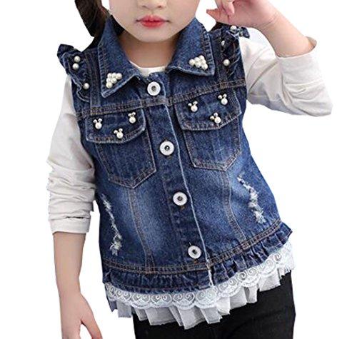 MYtodo Girl Sweet Broken Hole Denim Jacket Cowboy Pearl Adorn Vest Denim Jacket (3-4 ()