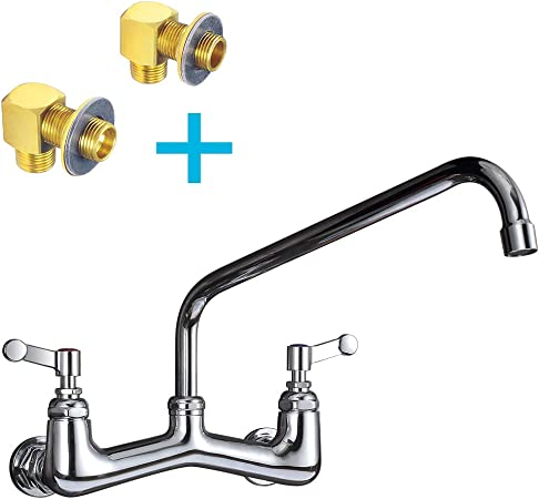 JZBRAIN 8 Inch Center Commercial Faucet Wall Mount Kitchen Faucet with 14  Inch Swing Spout, Heavy Duty Backsplash or Wall Mount Faucets Inclduing All  ...