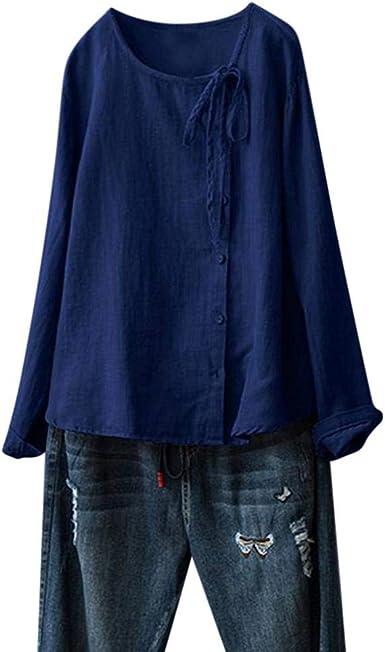 VJGOAL Camisetas de Manga Larga para Mujer Botones con Cuello en O de Color sólido con Cordones Tops de otoño Casual Blusas Sueltas de Talla Grande Camisas: Amazon.es: Ropa y accesorios