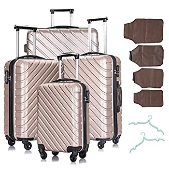 Image of Luggage Luggage sets 4 Piece Suitcase Luggage Sets - Carry on Luggage with Spinner Wheels 18-28 Inch Champagne