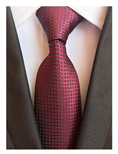 ck Ties Maze Patterned Accessory Evening Dress Suit Necktie (Burgundy Necktie)