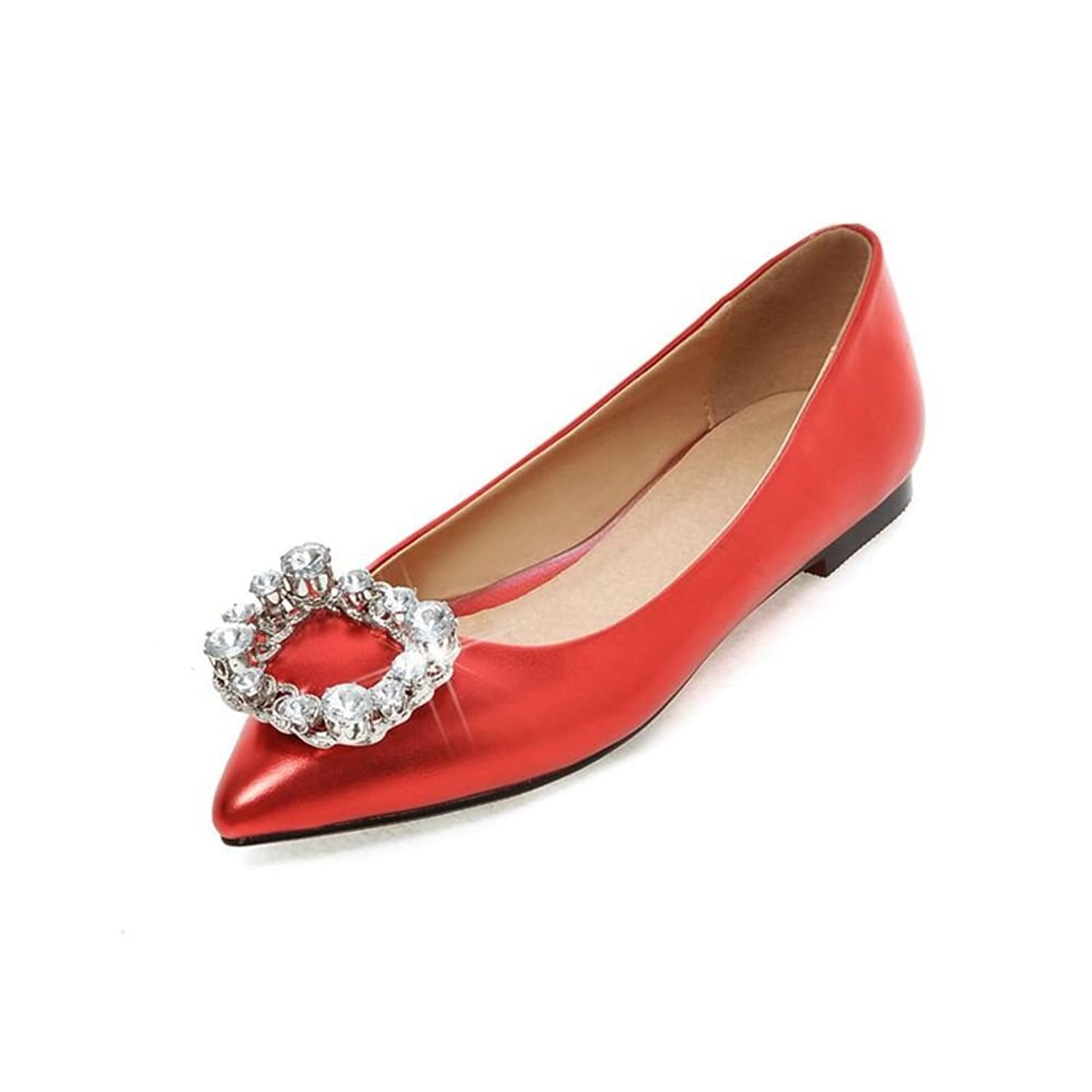 the simple work shoes/ fashion side buckle rhinestone shoes/Point light/Red wedding shoes