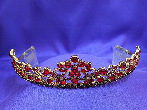Antique Vintage Gold Red Ruby Rhinestone Crystal Tiara Crown AT13