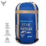Forbidden Road 380T Nylon Portable Sleeping Bag Single 15℃/60℉ (5 Colors) Lightweight Water Resistent Envelope for Man Woman Camping, Hiking, Backpacking (Navy Blue - Nylon, 15 ℃/60 ℉)