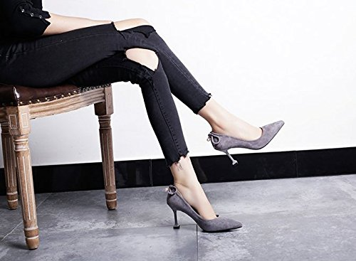 Work 8Cm Pointed 35 MDRW Fine Match Heels With Gray Cat With Shoes Elegant Lady Shoes Leisure Shoes Spring All High High Heeled Prw17Eq