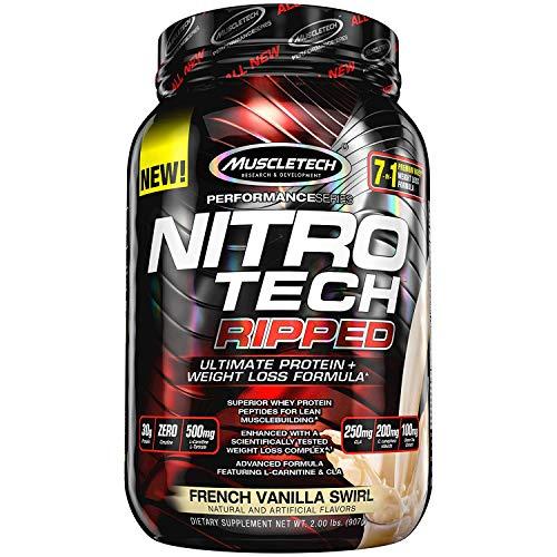MuscleTech Nitro Tech Ripped Ultra Clean Proteína de suero en polvo + Fórmula para perder peso, Bajo en azúcar, Bajo en carbohidratos, Remolino francés de vainilla, 2 libras