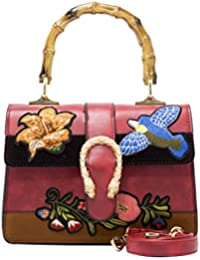 Women's Bamboo Handbag Retro Embroidery Bags PU Leather...