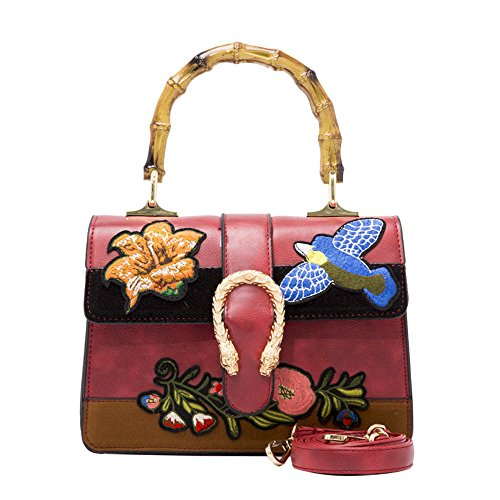 Vicue Women's Embroidery Style Handbag Shoulder Crossbody Bag Bamboo handle Retro Ethnic style by Vicue