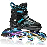 ITurnGlow Adjustable Inline Skates for Kids and Adults, Roller Skates with Featuring All Illuminating Wheels, for Girls and Boys, Men and Ladies Blue Size