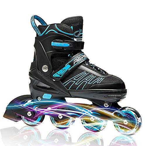 IUU Sports Adjustable Inline Skates for Kids and Adults, Roller Skates with Featuring All Illuminating Wheels, for Girls and Boys, Men and Ladies