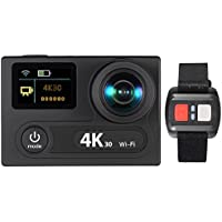 Relee 4K WIFI Sports Action Camera Ultra HD Waterproof 1080P 12MP 2 Dual Screen LCD 360 Degree VR Camera 170 Degree Wide-angle Underwater 30M with Remote Control
