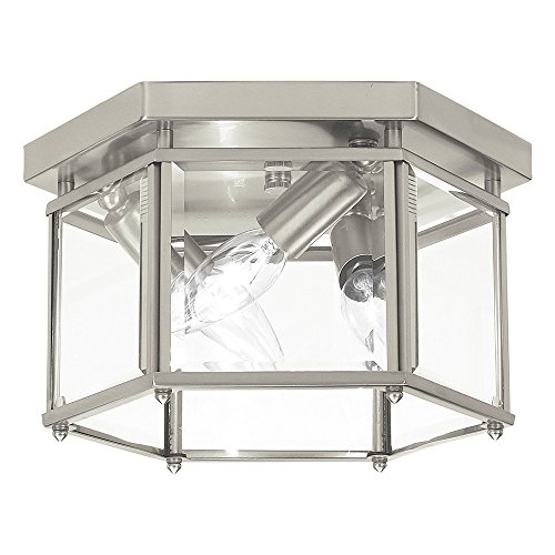 Sea Gull Lighting 7648-962 Bretton Three-Light Flush Mount Ceiling Light with Clear Beveled Glass Panels, Brushed Nickel Finish