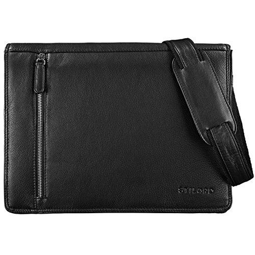 STILORD 'Noah' Bolsa de Negocios negro para 13,3' Laptop Maletín Bolso de piel para Laptop Hombres Mujeres Trabajo Borsa de cuero auténtico