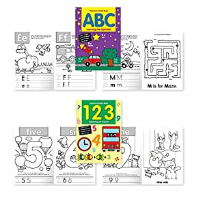 """Preschool Activity Book Pack - 2 Books included: """"ABC Learning the Alphabet"""" & """"123 Learning to Count"""" - Early Education Books for Kids,Young Children, Toddlers, Preschool Students."""