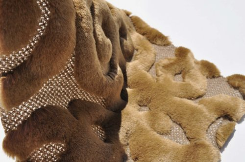 Faux Fur Sculpted Pattern Fabric By the Yard, Mink Brown